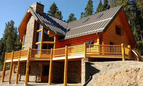 custom 3d log home design big deck fireplace through wall cabin Montana