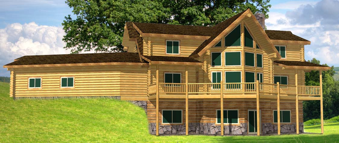 Cascade Lodge Lofted 3d design of a log home kit