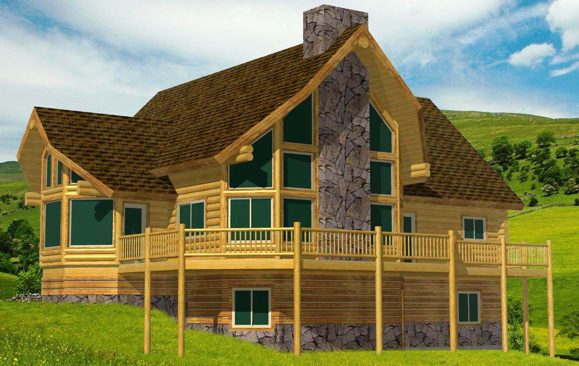 Custom log home design from Lazarus with sunroom breakfast nook fireplace