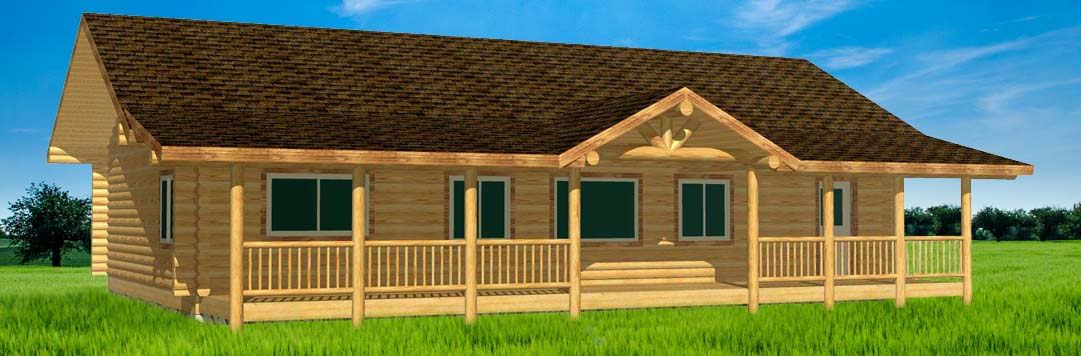 Eagle Ranch log cabin floor plan complete on one floor living