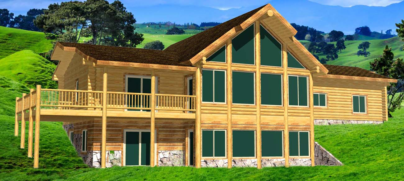 Highlander Ridge Ranch style log cabin materials package whitefish montana