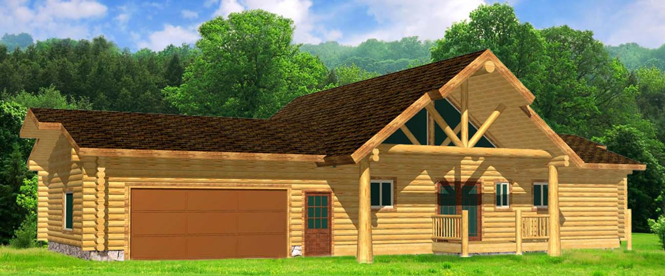 Highlander Ridge Ranch style log home design whitefish river cabin