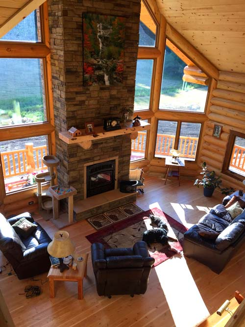 Inside a custom Log home from Lazarus Log Homes Montana