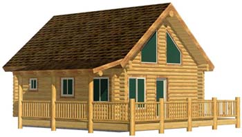 North Fork 20x24 smaller log cabin kits with loft and spiral stairs