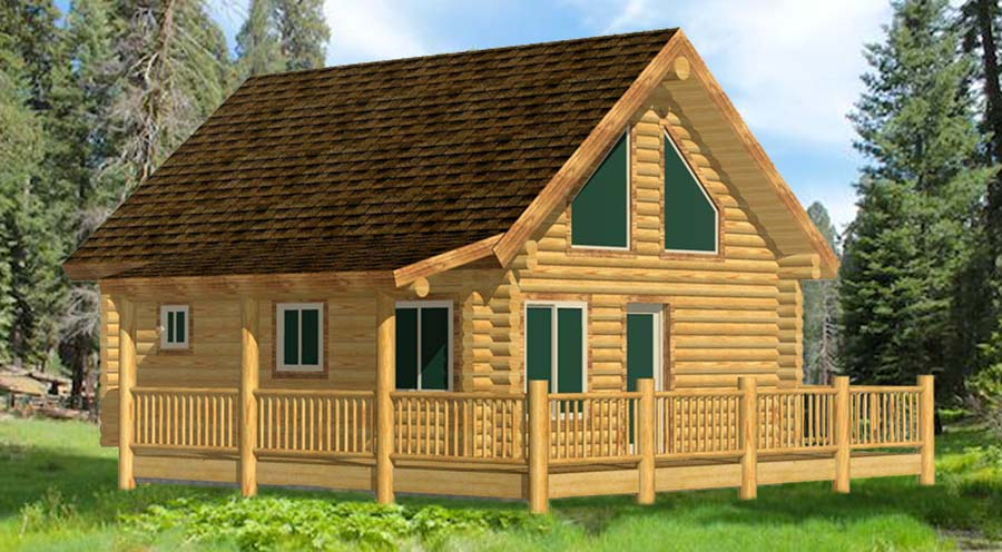 Small log cabin design with loft and covered side porch and deck