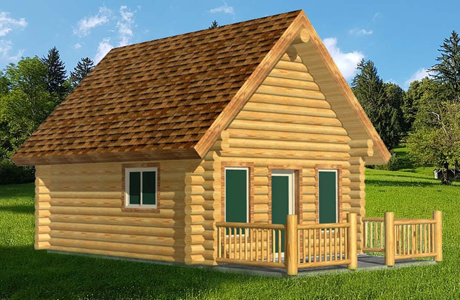 Small camp log cabin resort rental home small with loft