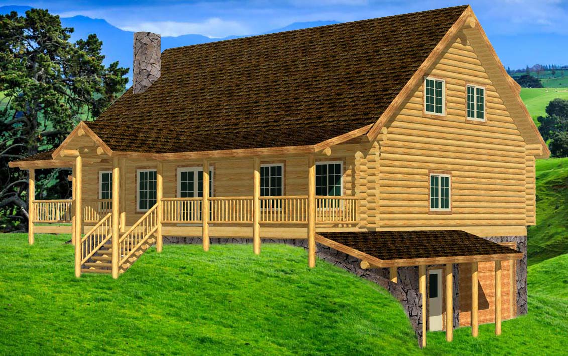 Southern Cape Cod Log home design with grid windows walkout Washington
