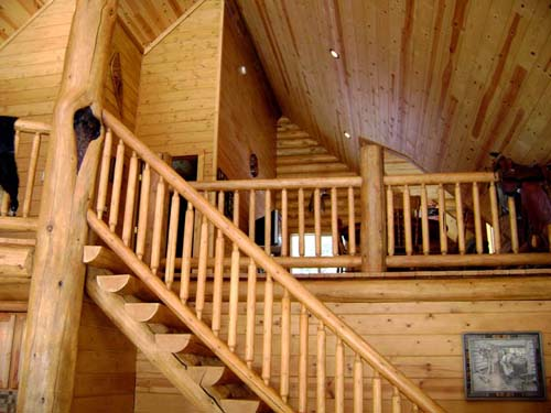 28 wide chalet loft log stairs log railing T&G ceiling