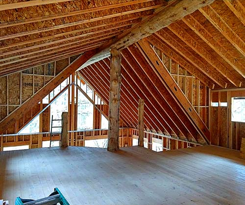 hybrid log sided log home loft 500