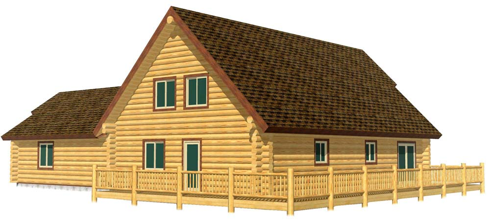 28x44 Aspen 3D Rear view log home
