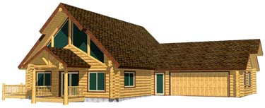 28x44 Aspen chalet log cabin kit 3D Front view