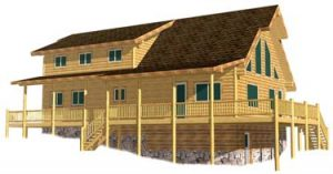 28x52-9 Adirondack Log hybrid timber and framed walled full log profile sided log home design 375
