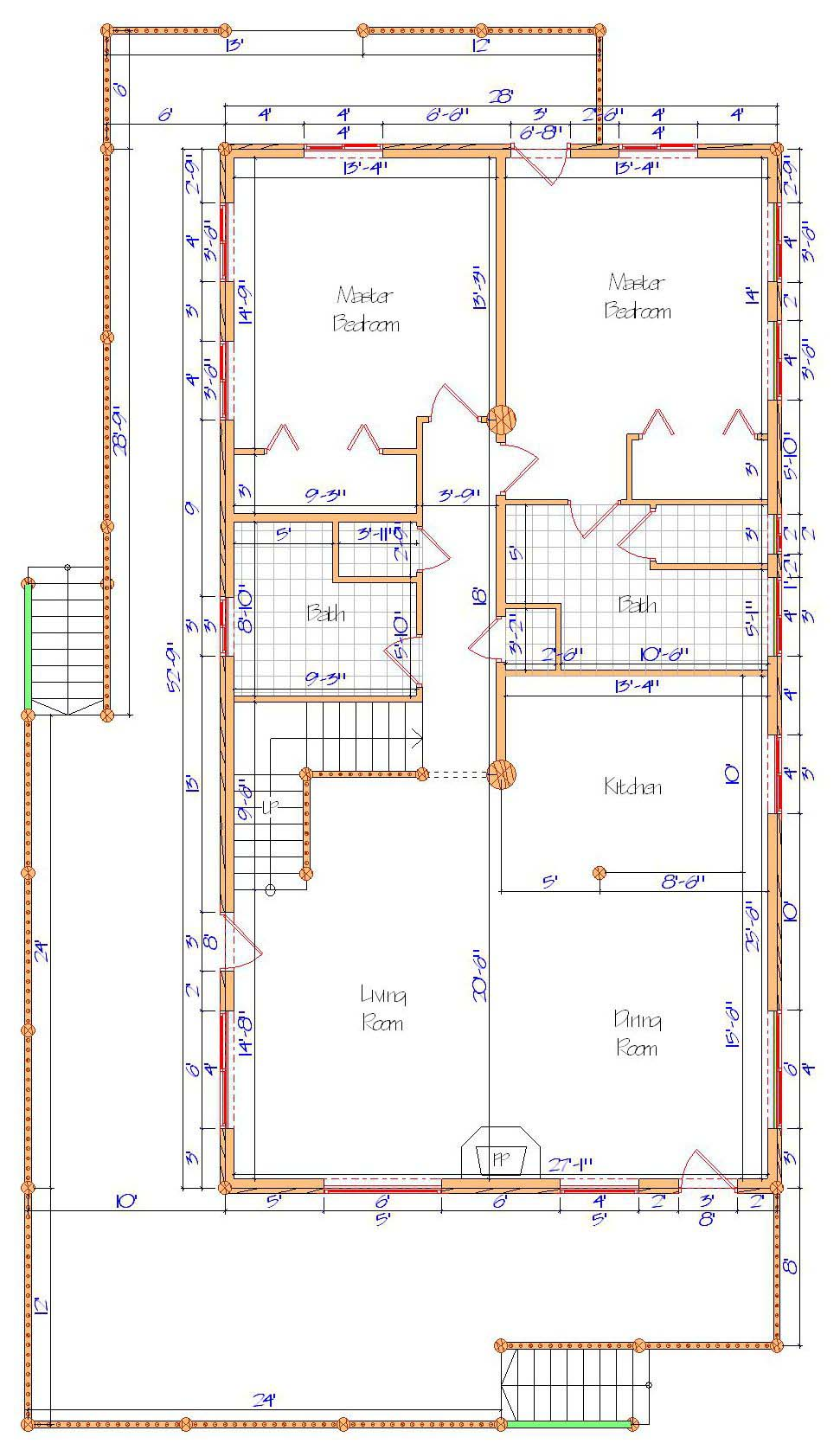 28x52-9 Adirondack Main floor layout framed log home