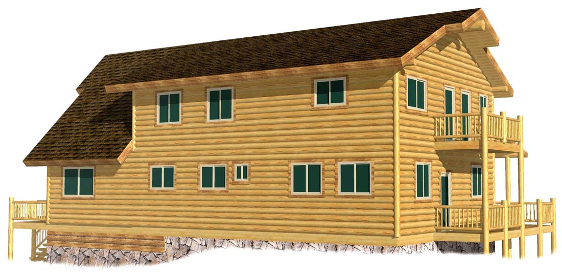 28x52 Adirondack hybrid log timber frame log sided home design
