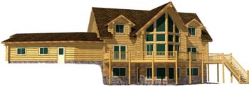Large log home design with gable dormers and superior log cabin design