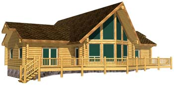 Ranch style log cabin design with v prow glass