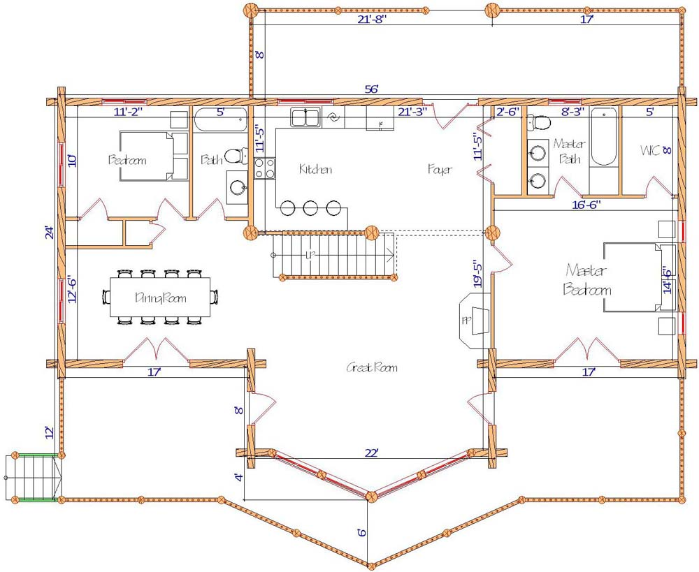 Best floor plan for a ranch style all on one floor design log home