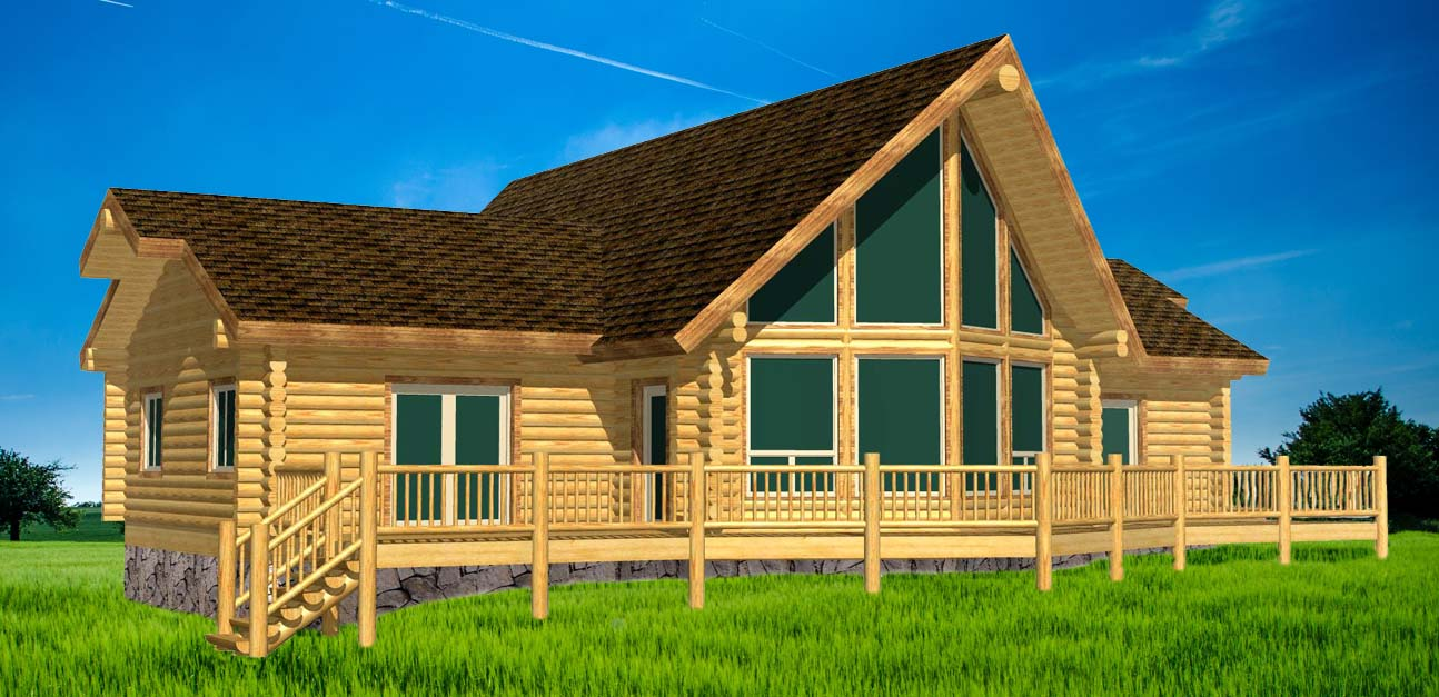 Best looking ranch style log cabin package 3d