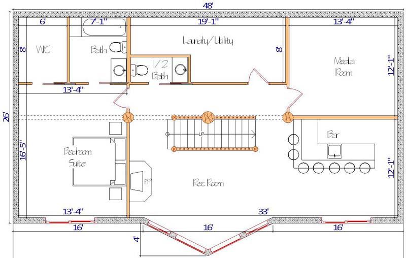 Blue Valley Lodge basement floor plan