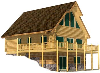small chalet style log cabin floor plan that is super efficient