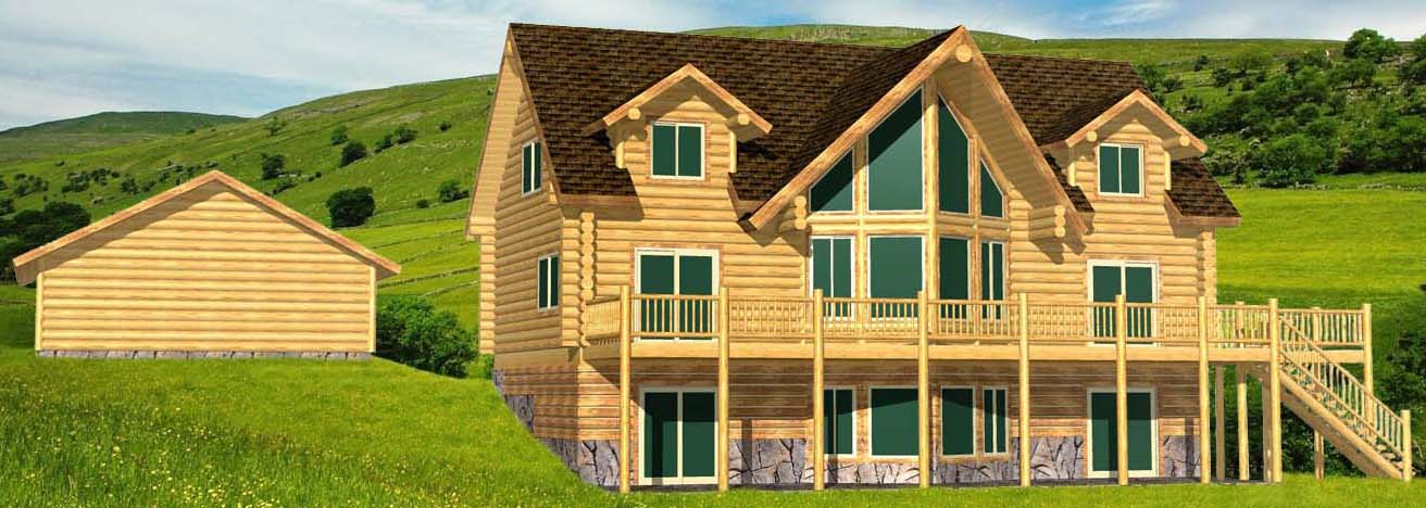 Blue Valley Lodge log cabin 3d with dormers and garage