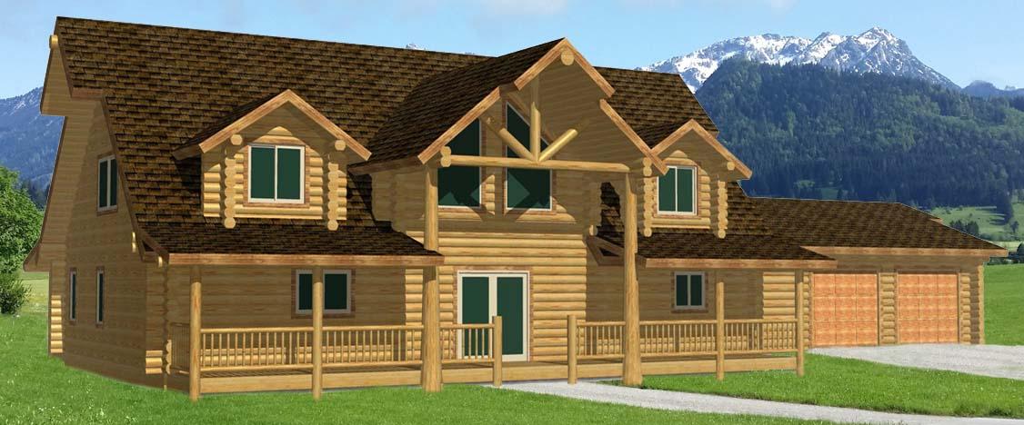 Lazarus Log Homes Cape Cod design log cabin