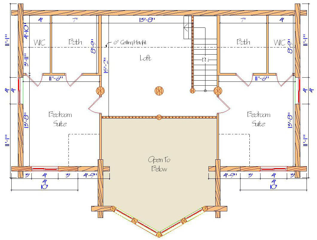 Lodge style lofted floor plan efficient design